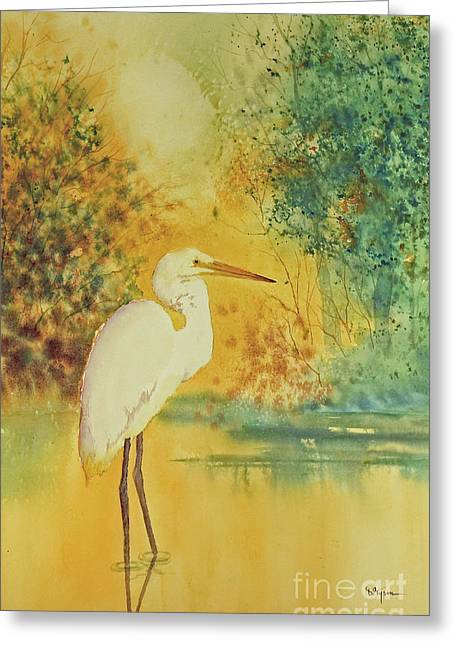 Egret Greeting Card by Diana  Tyson