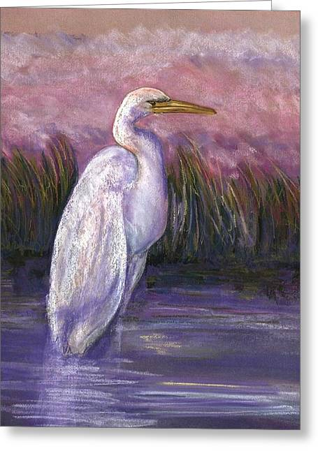 Olive Green Pastels Greeting Cards - Egret Greeting Card by Nancy w Rushing