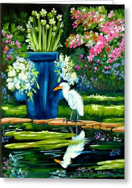 Florida Flowers Mixed Media Greeting Cards - Egret visits goldfish pond Greeting Card by Carol Allen Anfinsen