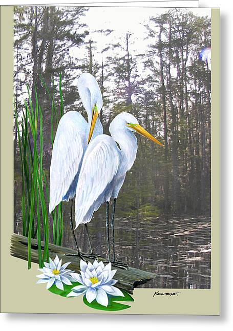 Kevin Brant Greeting Cards - Egrets and Cypress Pond Greeting Card by Kevin Brant