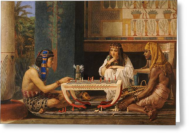 Concentration Greeting Cards - Egyptian Chess Players Greeting Card by Sir Lawrence Alma-Tadema