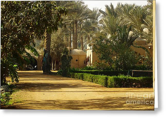 Quite Digital Art Greeting Cards - Egyptian Courtyard In the Late Afternoon Greeting Card by Mary Machare
