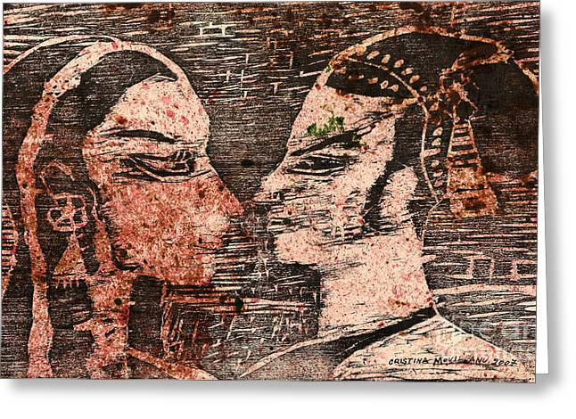 Linocut Mixed Media Greeting Cards - Egyptian love  Greeting Card by Cristina Movileanu