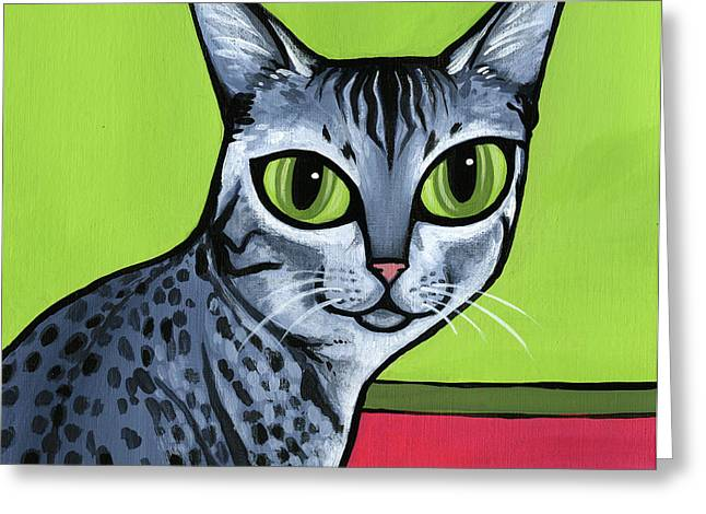 Cat Breeds Portraits Greeting Cards - Egyptian Mau Greeting Card by Leanne Wilkes
