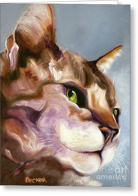 Cat Prints Drawings Greeting Cards - Egyptian Mau Princess Greeting Card by Susan A Becker