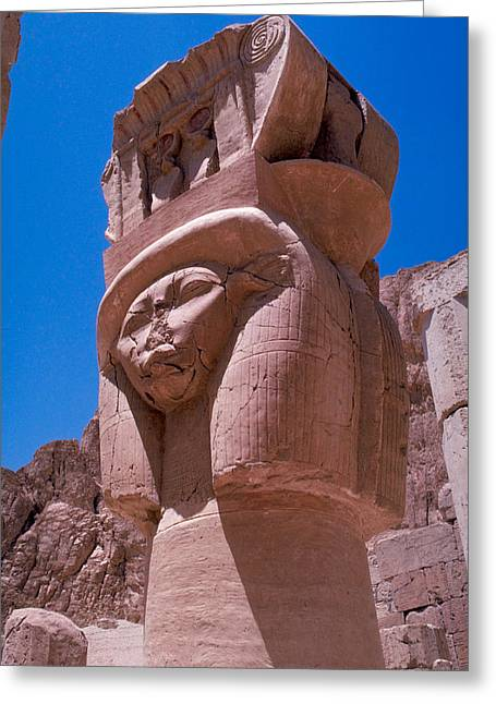 Egyptian Stone Goddess Greeting Card by Carl Purcell
