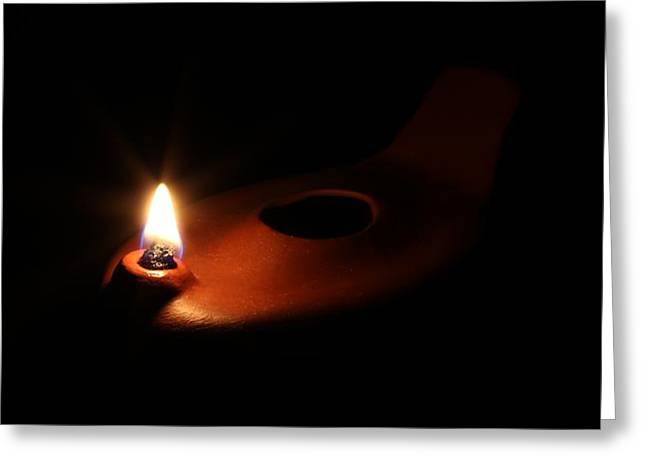 Pottery Ceramics Greeting Cards - Egyptian Style Lamp - Terracotta 1 Greeting Card by Robert Morin