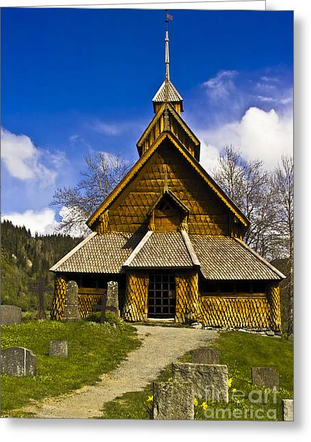Wooden Building Greeting Cards - Eidsborg Stave Church  Greeting Card by Heiko Koehrer-Wagner