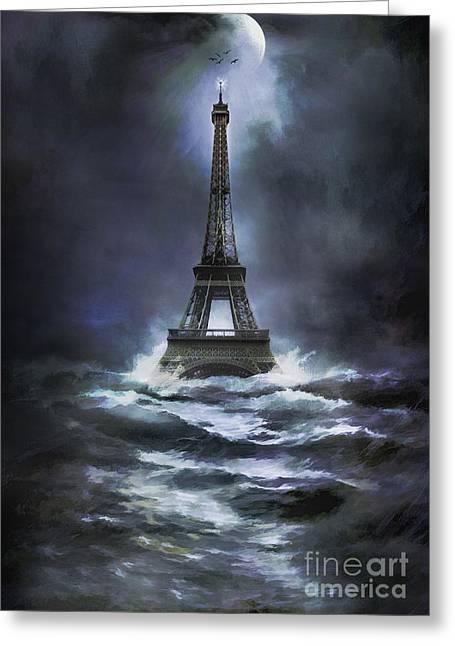 Flood Digital Greeting Cards - Eiffel   Greeting Card by Andrzej Szczerski