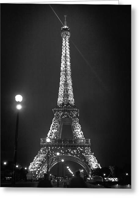 Historic Statue Greeting Cards - Eiffel By Night D2724 Greeting Card by Wes and Dotty Weber
