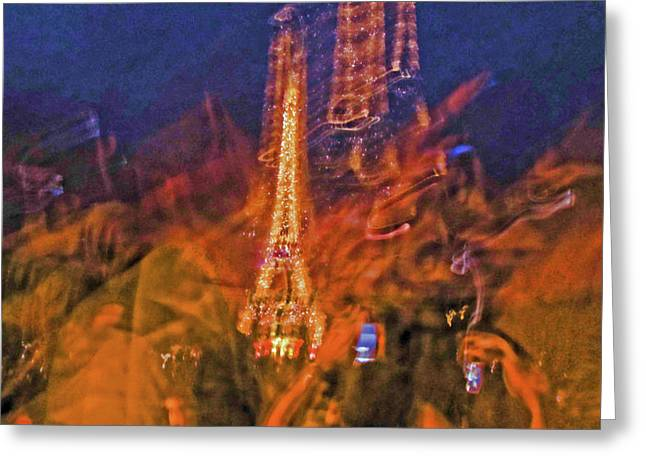 Bastille Photographs Greeting Cards - Eiffel on Bastille Day Abstract Greeting Card by Tony Grider