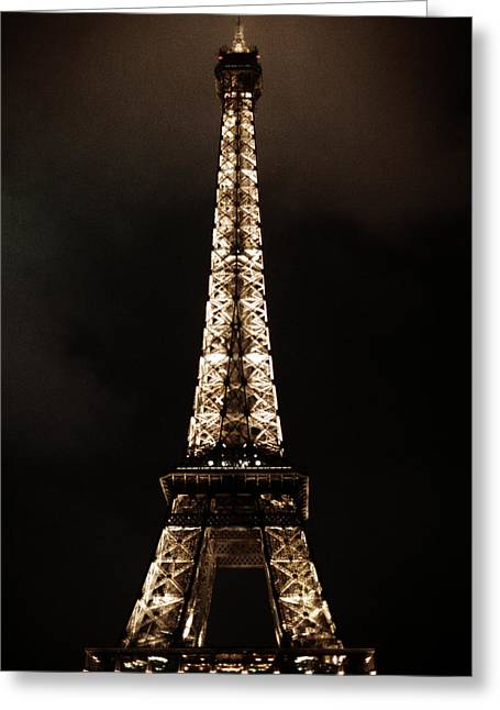 Vintage Eiffel Tower Greeting Cards - Eiffel Tower at Night Greeting Card by Andrew Soundarajan