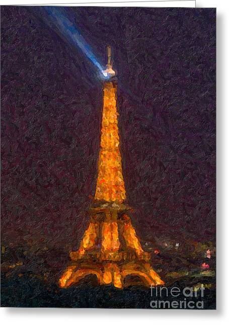 Champs Greeting Cards - Eiffel Tower at Night Impasto Greeting Card by Clarence Holmes