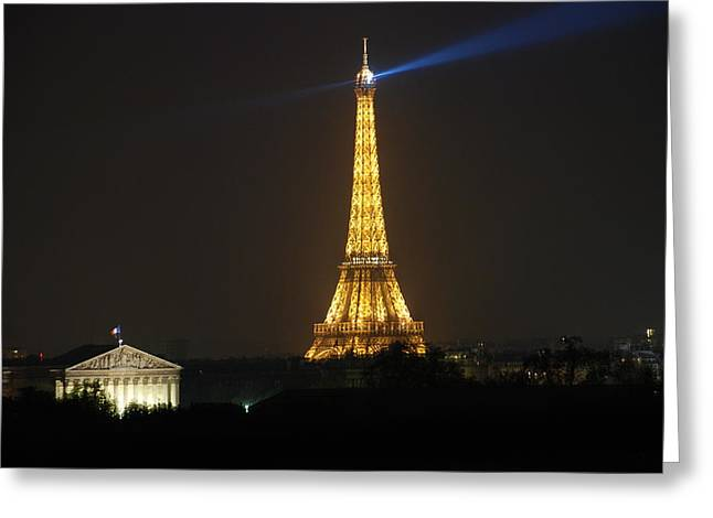 Eiffel Tower Greeting Cards - Eiffel Tower at Night Greeting Card by Jennifer Lyon