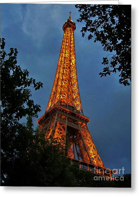 Halifax Art Galleries Greeting Cards - Eiffel tower at Night Greeting Card by John Malone