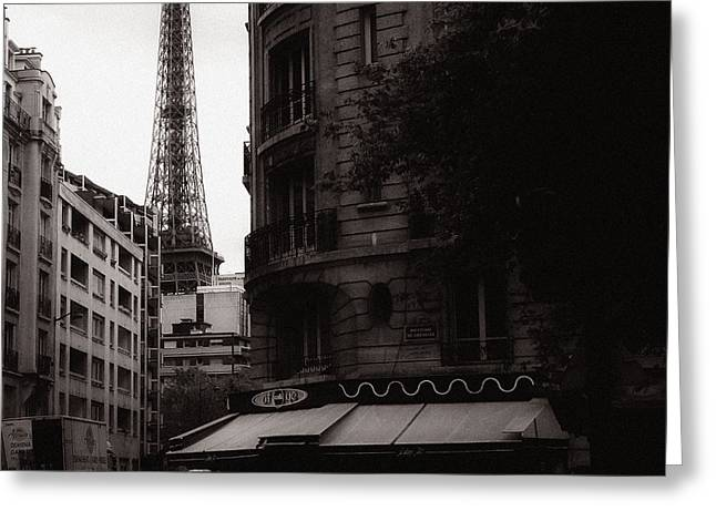 Eiffel Tower Black and White 2 Greeting Card by Andrew Fare