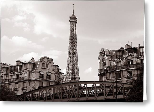 Vintage Eiffel Tower Greeting Cards - Eiffel Tower Black and White 3 Greeting Card by Andrew Fare