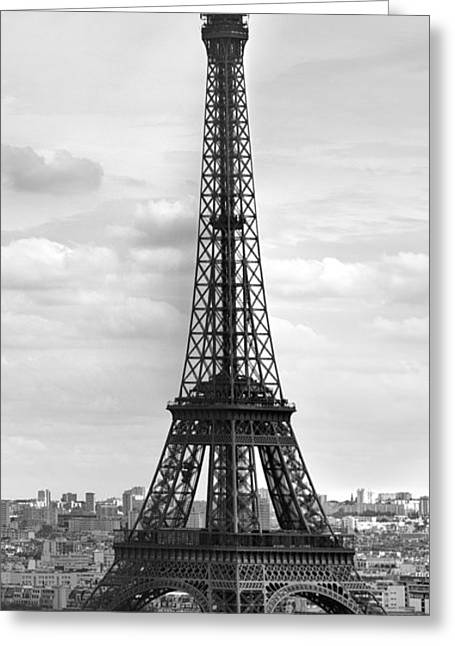 Capitals Greeting Cards - Eiffel Tower BLACK AND WHITE Greeting Card by Melanie Viola
