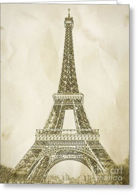 Eifel-tower Greeting Cards - Eiffel Tower Illustration Greeting Card by Paul Topp