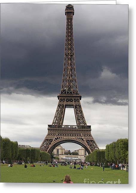 Tourists Greeting Cards - Eiffel tower. Paris Greeting Card by Bernard Jaubert