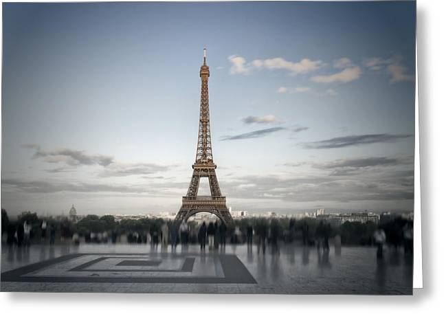 Puddle Digital Art Greeting Cards - Eiffel Tower PARIS Greeting Card by Melanie Viola