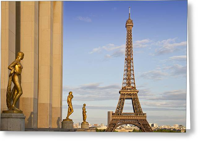 Historic Architecture Greeting Cards - Eiffel Tower PARIS Trocadero  Greeting Card by Melanie Viola