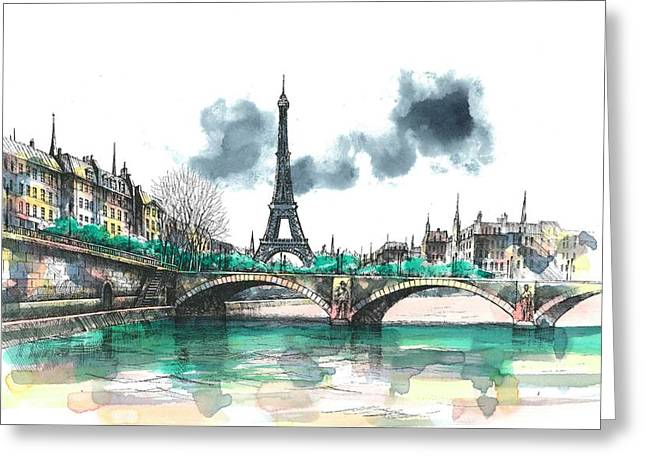 Tower Greeting Cards - Eiffel Tower Greeting Card by Seventh Son