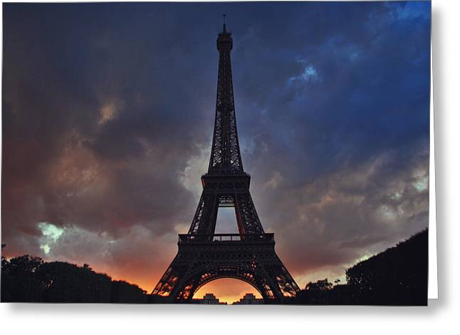 Jeka World Photography Greeting Cards - Eiffel Tower Sunset Greeting Card by Jeff Rose