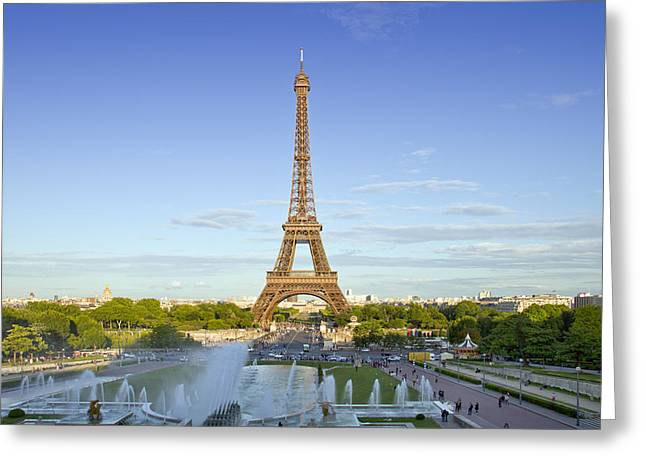 Champs Photographs Greeting Cards - Eiffel Tower with Fontaines Greeting Card by Melanie Viola