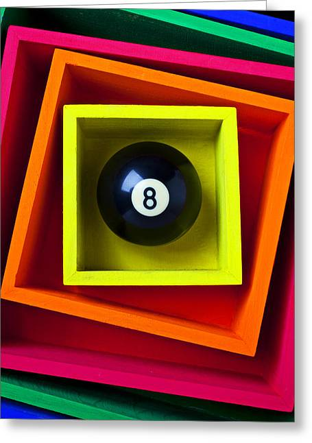 Ball Games Greeting Cards - Eight Ball In Box Greeting Card by Garry Gay