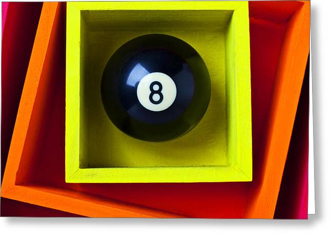 Eight Ball In Box Greeting Card by Garry Gay