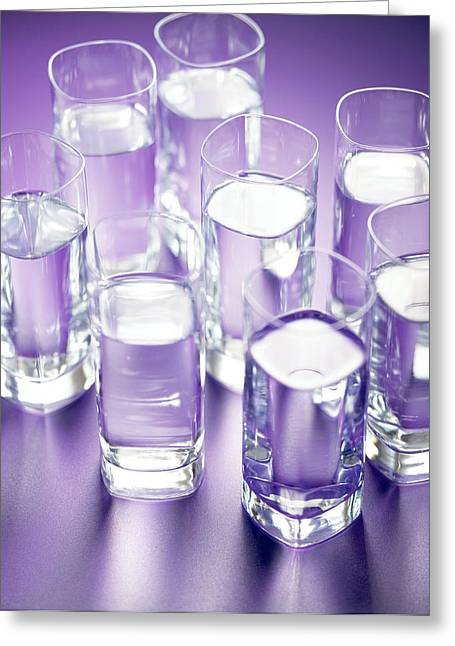 Eight Glasses Of Water Greeting Card by Lawrence Lawry