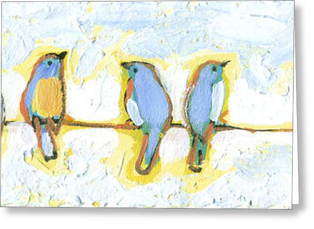 Bird Greeting Cards - Eight Little Bluebirds Greeting Card by Jennifer Lommers