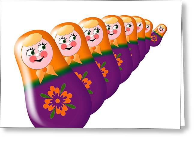Lacquer Greeting Cards - Eight merry matrioshkas Greeting Card by Zaira Dzhaubaeva