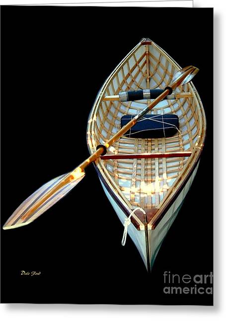 Water Vessels Greeting Cards - Eileens Canoe Greeting Card by Dale   Ford