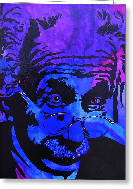 Etc. Paintings Greeting Cards - Einstein-All Things Relative Greeting Card by Bill Manson