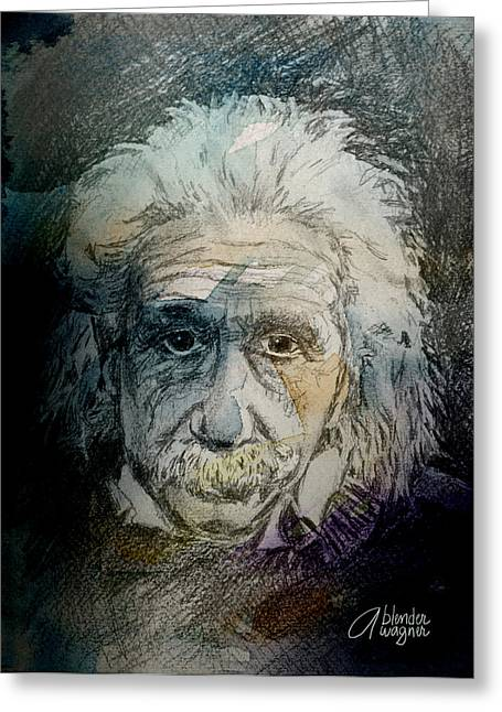 Smart Mixed Media Greeting Cards - Einstein Greeting Card by Arline Wagner