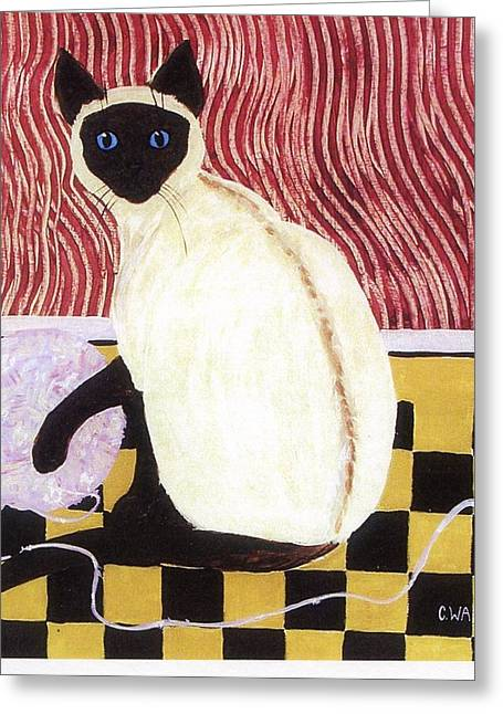 Red Point Siamese Greeting Cards - Einstein the Cat Greeting Card by Carol Ann Wagner
