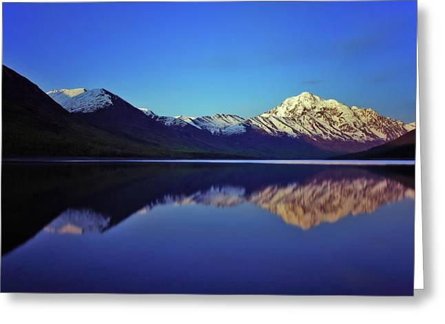 Alaska Lake Greeting Cards - Eklutna Reflections Greeting Card by Rick Berk