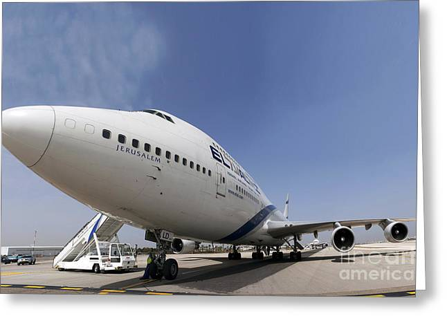 Boeing 747 Photographs Greeting Cards - El-Al Boeing 747-400 Greeting Card by Nir Ben-Yosef