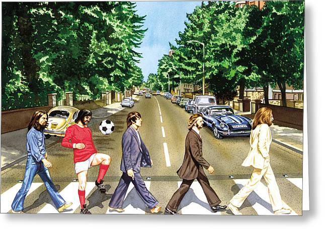 Beatles John Lennon Paul Mccartney George Harrison Ringo Starr Music Rock Icon Greeting Cards - El Beatle Greeting Card by John Hebb