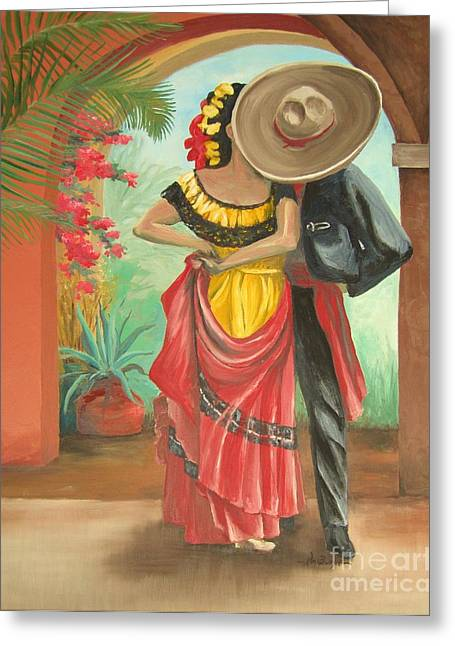 Mexican Fiesta Greeting Cards - El Beso Greeting Card by Kim Bumpus