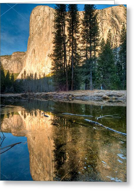 Moonrise Greeting Cards - El Capitan Reflecting Greeting Card by Connie Cooper-Edwards