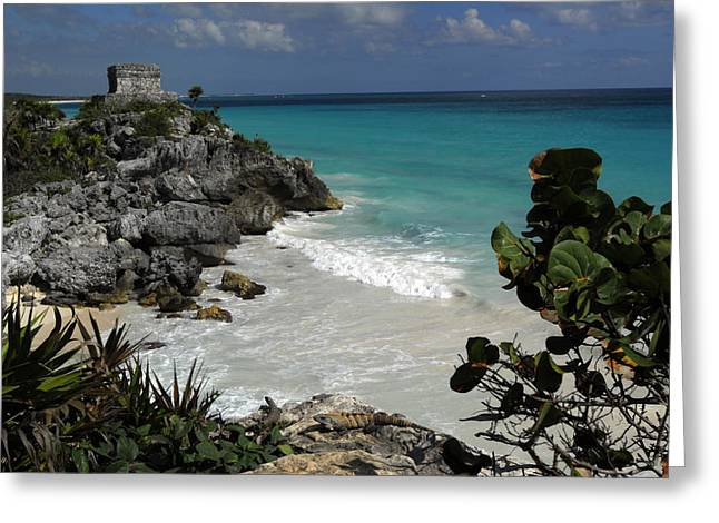 Remains Of Images Greeting Cards - El Castillo On A Cliff Overlooking Greeting Card by Raul Touzon