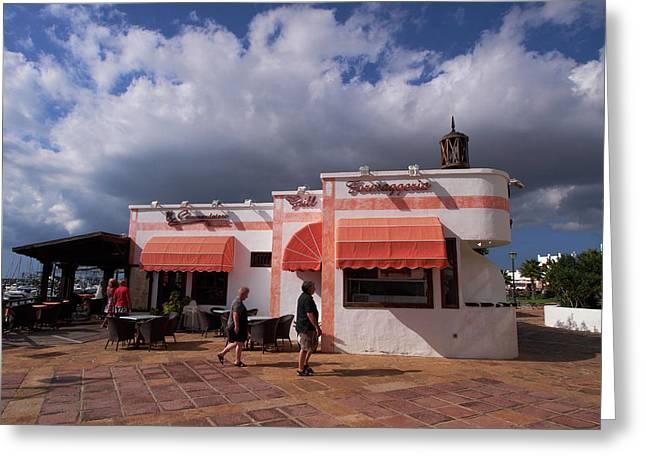 Playa Blanca Greeting Cards - El Commendatore Tratoria Grill Formaggeria Greeting Card by Jouko Lehto
