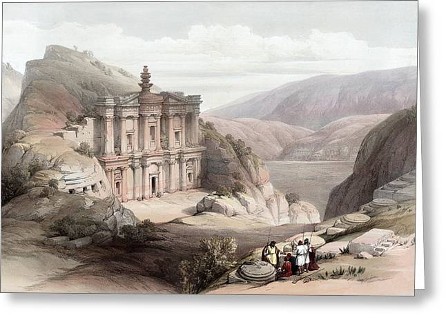 Petra Drawings Greeting Cards - El Deir Petra 1839 Greeting Card by Munir Alawi