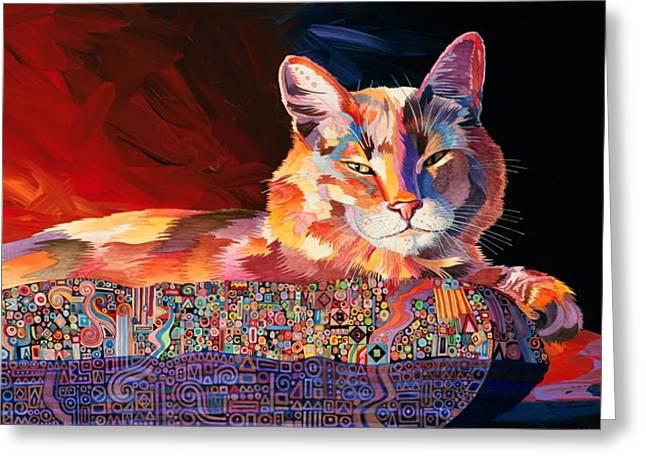 Imaginary Realism Greeting Cards - El Gato Sonata Greeting Card by Bob Coonts