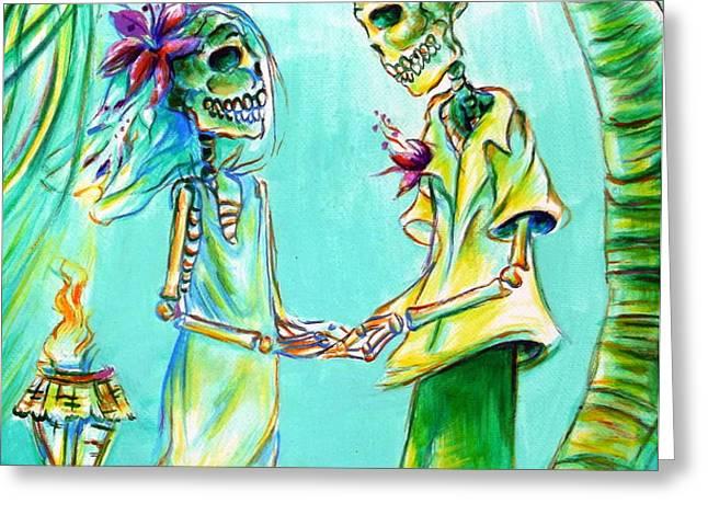 El Matrimonio de la Playa Greeting Card by Heather Calderon