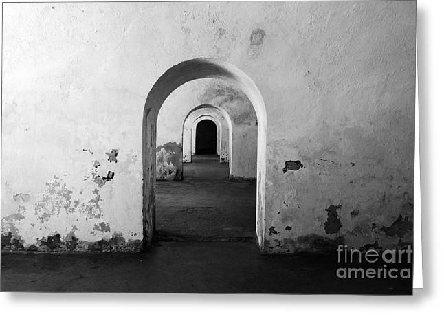 El Morro Fort Barracks Arched Doorways San Juan Puerto Rico Prints Black And White Greeting Card by Shawn O'Brien