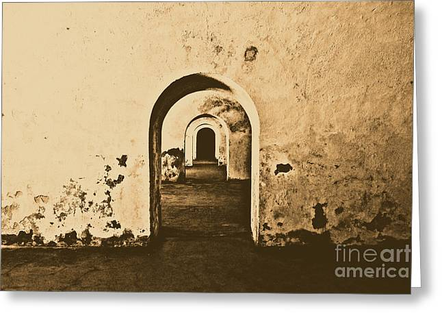 El Morro Fort Barracks Arched Doorways San Juan Puerto Rico Prints Rustic Greeting Card by Shawn O'Brien